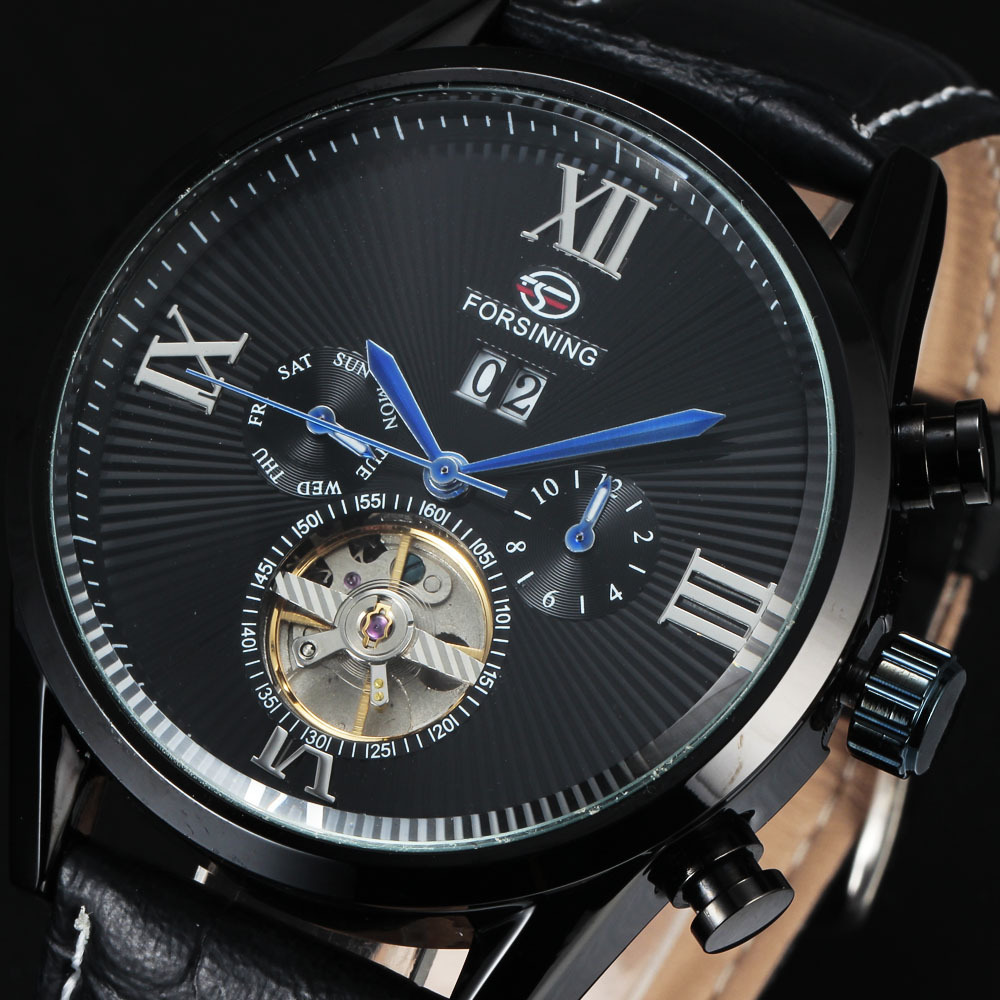 2016 FORSINING Men Tourbillon Mechanical Watch Luxury Hardlex Montre Hommes Mens Black Skeleton Hollow Automatic Wrist Watches<br>