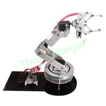 Metal Alloy 6 DOF Robotic Robot Arm Clamp Claw & Swivel Rotatable Stand Mount Kit - Silver