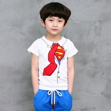 baby boy t-shirts Superman Children Boys Summer Cotton Short Sleeve Tie Pattern Tops T-Shirt kid's lowest price shirt jongen