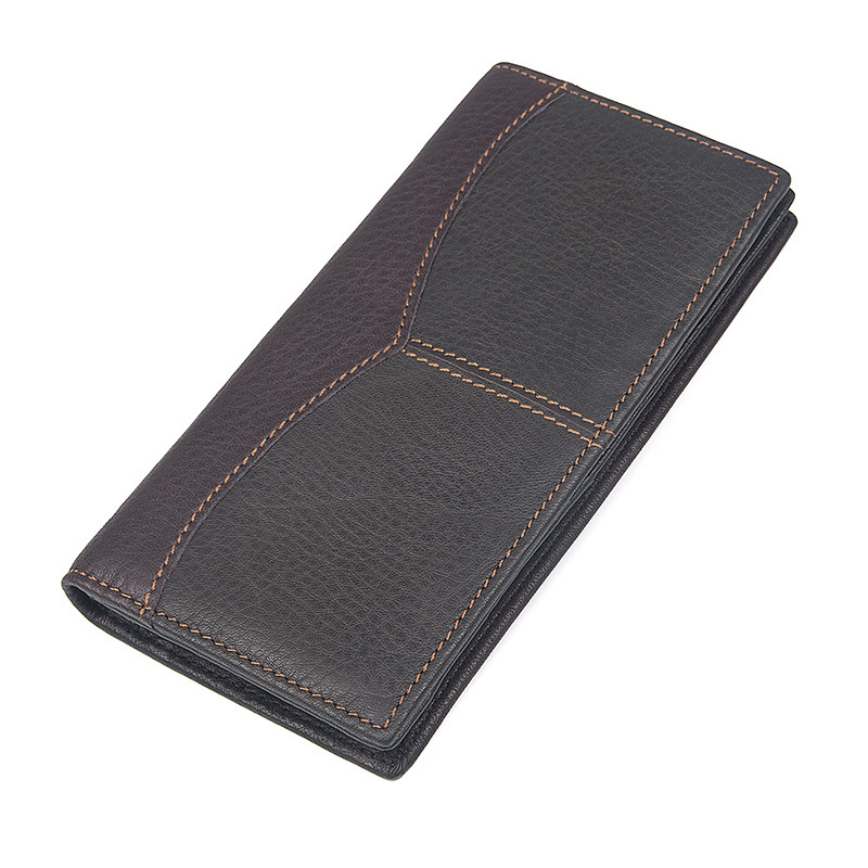BETMEN Fashion Vintage Genuine Leather Men Wallets Long Slim Male Bifold Credit Card Holder Purse Wallet<br>