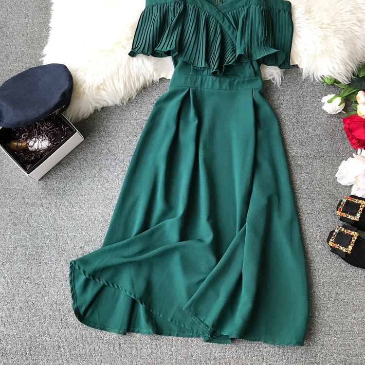 2019 Spring Women Chiffon Pleated Braces Sling Spaghetti Strap Goffer Long Dress Ladies Ruffles Empire Drapped Swing Slip Dress 153