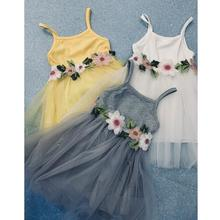 PKR 363.55  38%OFF | Toddler Kids Baby Girl Floral Princess Party Strap Tulle Dresses Casual Clothes Kids Baby Girls Beautiful Flower Dress