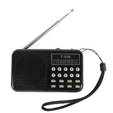 Mini Portable Dual Band Rechargeable Digital LED Display Panel Stereo FM Radio Speaker USB TF Mirco for SD Card MP3 Player