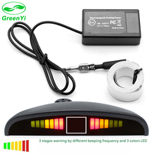 GreenYi New Auto Car Reverse Electromagnetic parking sensor System with Led Display And Buzzer,no drill hole easy install