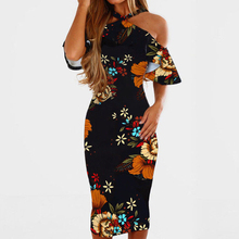 Buy Summer Women Sexy Dress Elegant Halter Ruffles Floral Print Shoulder Bodycon Midi Dress Casual Boho Club Evening Party Dress