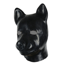 Buy 3D mould full head latex dog mask rubber hood unisex fetish latex dog BDSM slave hood