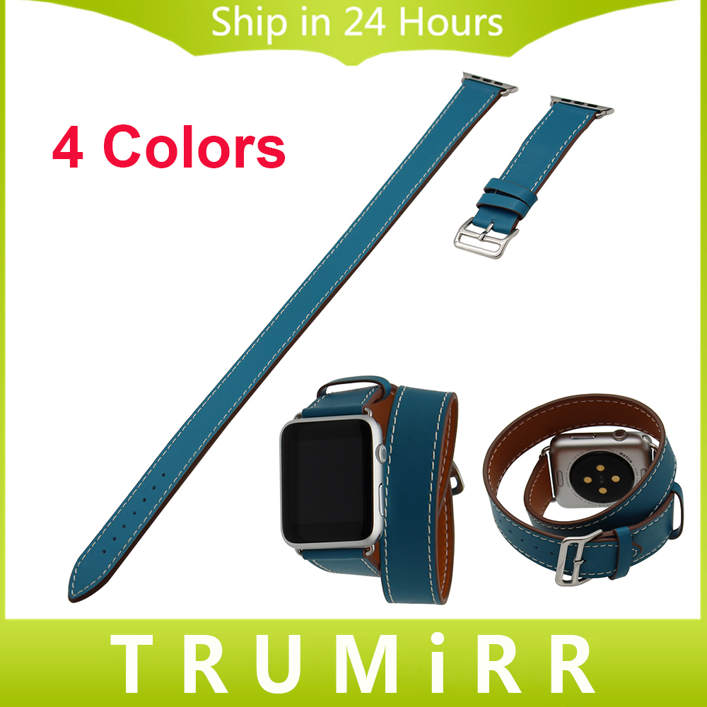 Genuine Leather Watchband Double Tour Strap for iWatch Apple Watch 38mm 42mm Wrap Band Wrist Belt Bracelet Black Blue Brown Red<br><br>Aliexpress
