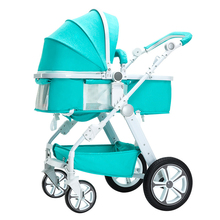 High view baby stroller can sit and lie flat on all sides. It is easy to carry in summer