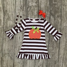 thanksgiving baby girls kids Fall striped brown outfits dress pumpkin boutique cotton sleeve children clothes match accessory(China)