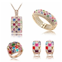 Austrian Crystal dubai Jewelry Luxury Queen  Jewelry Set Necklace Earrings Bracelets Rings Crystal from Swarovski