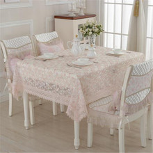 Hot Sale European Style Elegant Lace Tablecloth For Wedding Party Home Table Lace Cloth Cover Textile Decoration Pink Rose