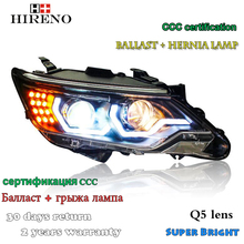 Hireno Headlamp for 2015-2016 Toyota Camry Headlight Assembly LED DRL Angel Lens Double Beam HID Xenon 2pcs