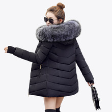 2017 Fashion winter jacket coat women Long thicken down cotton-padded faux big fur collar warm female Lady's outwear(China)