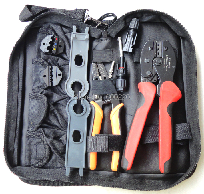 Solar PV MC4 Crimping tool for MC4 MC3 solar connector plier (2.5~6.0mm2) with cable cutter crimping tool kits LY-K2546B-5<br>