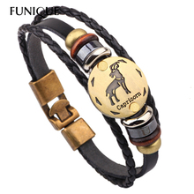 Buy FUNIQUE Punk Rock Men Jewelry 12 Zodiac Signs Bracelet 12 Constellation Mens Bracelets beaded Handmade Charm Leather Bracelet for $1.34 in AliExpress store