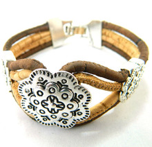 MB Cork Europe Warehouse Flower women bracelets brown cord handmade lady original Jewelry Environment-friendly materials REF-987