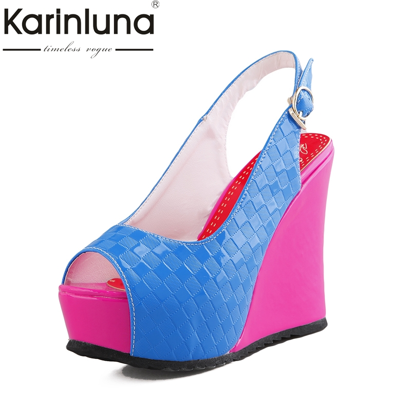 Karinluna 2018 Brand Shoes Size 33-41 Peep Toe Wedge high-heeled Women Shoes Sandal Fashion Platform Party Shoes Woman<br>