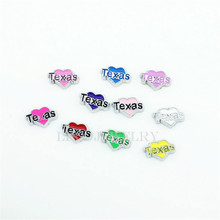 100PCS/lot Mix Color Heart Letter Texas Floating Charms For Magnetic Memory Glass Living Lockets(Texas in your heart)