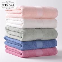 Beroyal Brand Bath Towel -- 1pc 70*140cm Bamboo Towel Plain Dyed Solid Towels Bathroom Adult Toalla Thicker Beach Towel(China)
