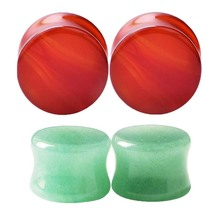 4pcs Red and Green Mixed Natural Stone Plug Tunnel Earrings Flesh Earlet Expanders Body Piercing Jewelry Ear Plugs