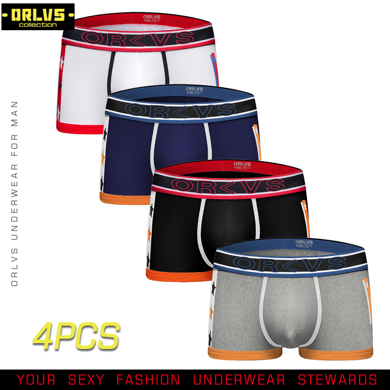 ORLVS 4PC/LOT Sexy Men Underwear Male Boxer Underpant Cotton Male Panties Pouch Cueca Gay Underwear Breathable Comfortable Boxer