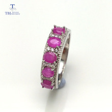 TBJ,simple design ring with 100% natural real india ruby gemstone in 925 sterling silver fine jewelry for women , best gift(China)