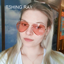 TSHING RAY Fashion Oversized Aviation Sunglasses Women Men Luxury Rimless Brand Designer Big Mirror Pilot Driving Sun Glasses