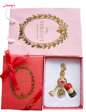 KC15 Customized New Arrival France  Macaroon Effiel Tower Keychain w Red Crystal Christmas Ball Pendant Gifts Box Ribbon Handbag