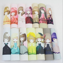 Cute girl diy felt linen cotton fabric cloth dolls for sewing patterns crafts handicraft printed material patchwork bag fabric