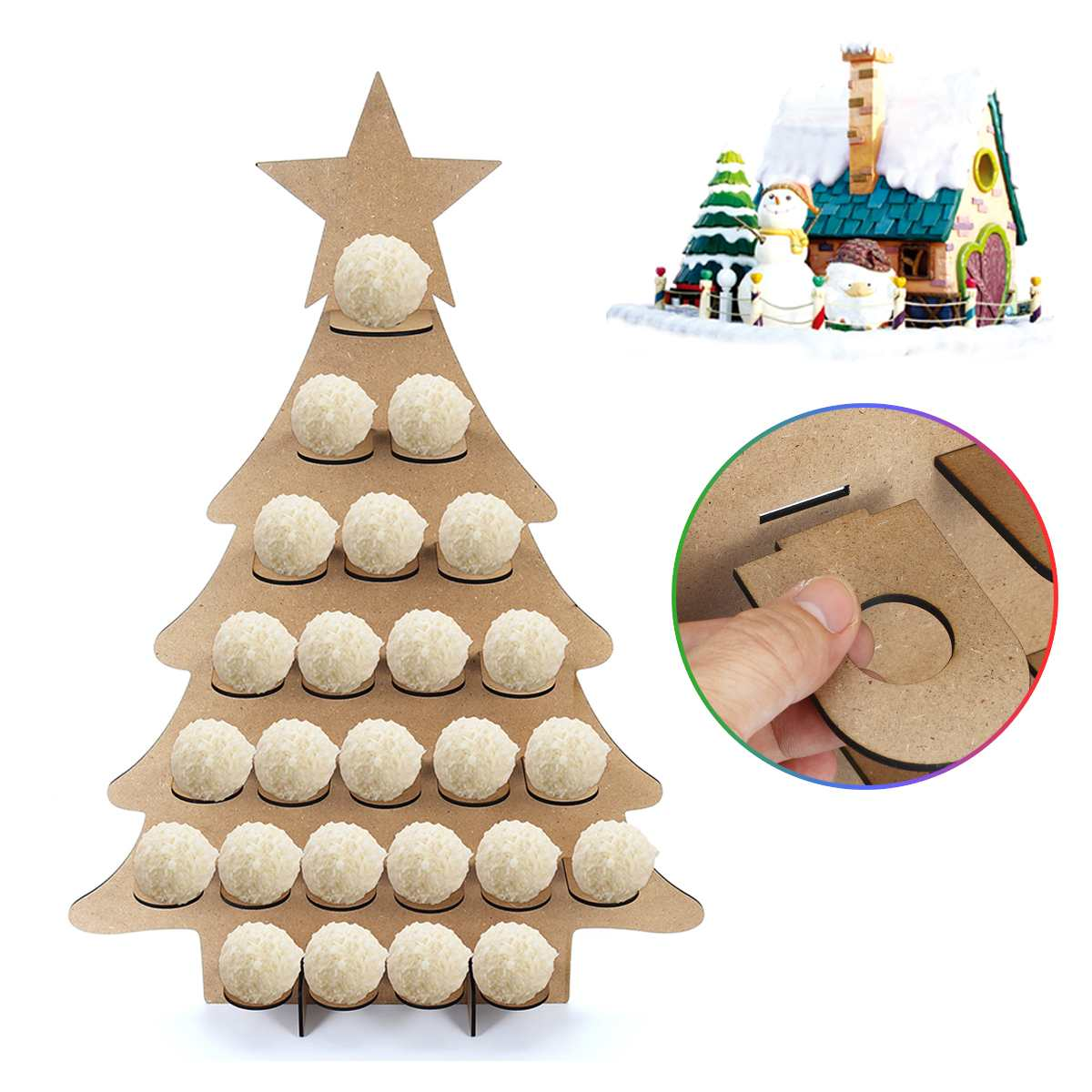 Home Christmas Tree Countdown Calendar Wooden Christmas Chocolate Display Stand Calendar For Home Decoration 68x47cm