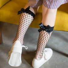 New Fashion Summer Women Ruffle Large Fishnet Ankle Mesh Socks Punk Wind Sexy Pearl Bow Stockings High Tube Short Knee Socks(China)