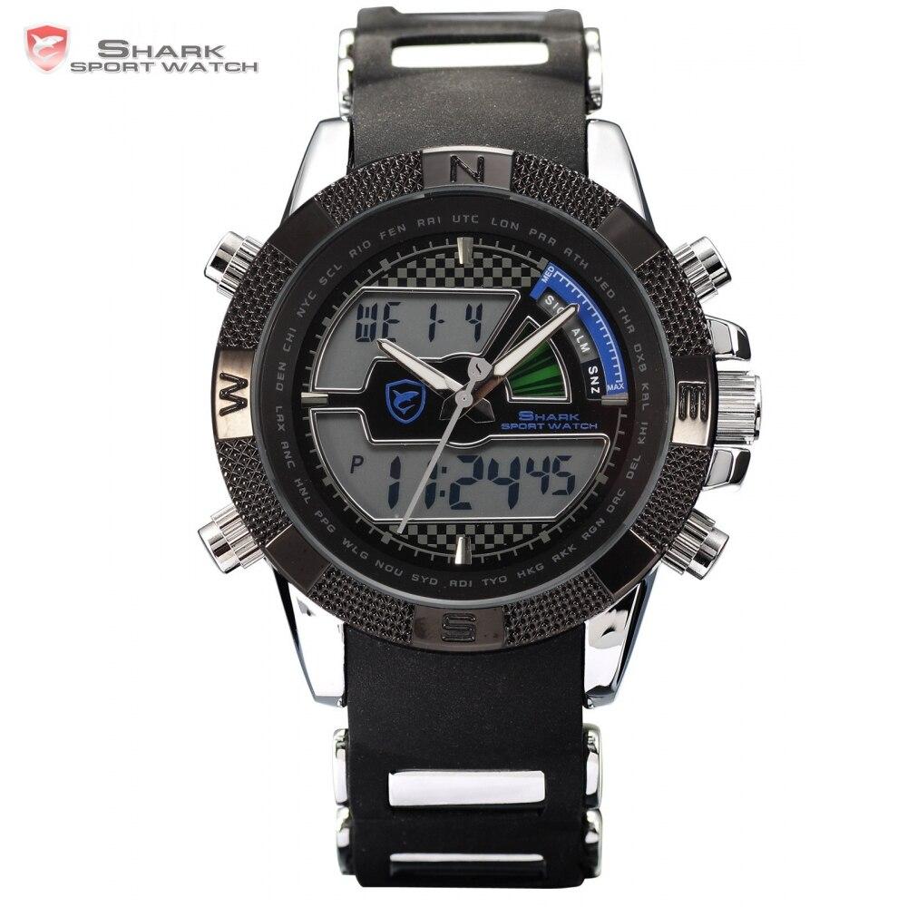Porbeagle SHARK Sport Watch Relogio LCD Auto Date Alarm Silicone Band Chronograph Dual Time Men Quartz Digital Wristwatch /SH180<br>