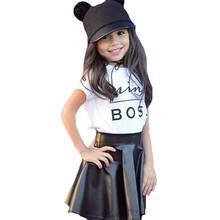 2pcs Toddler Girls Clothes Outfits 2017 Summer Short Sleeve Mini Boss T-shirt+Black Mini Leather Skirts Kids Girl Clothing Sets(China)