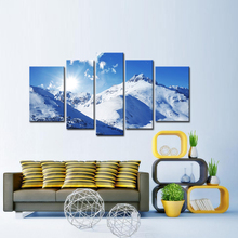 5 Panels Canvas Paiting WALL ART  Blue Sky Snow-capped Mountains The Photo Prints on Canvas for Living Room Decoration
