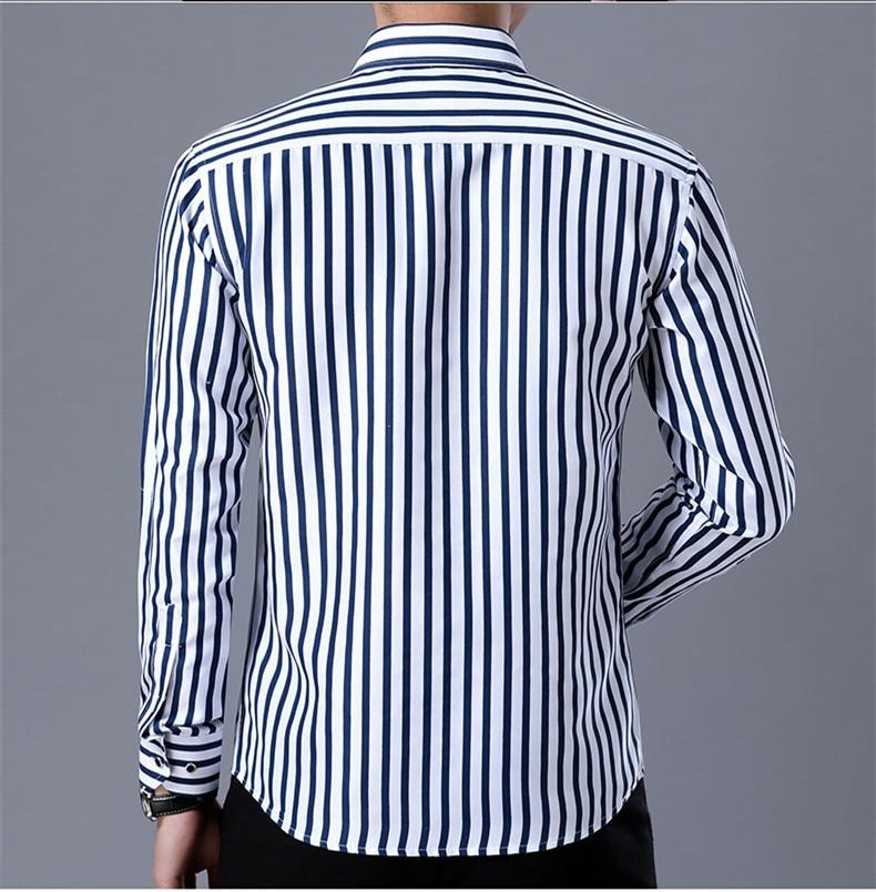 2018 New Men's Striped Male Shirts Cotton Men Shirt Mens Clothing Chemise Social casual Slim fit Dress Homme Shirts men K036 4