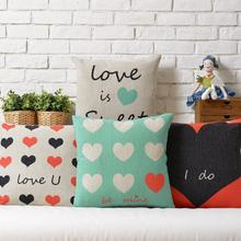 LOVE  Couple models  Wedding heart-shaped gift Linen pillow  cushion  Square Pillowcases Home Decor sofa cushions