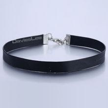 10mm Fashion Women Girl Sexy Elegant Soft Black Man Made Leather Choker Necklace Adjustable Wholesale Jewelry LUN110(China)