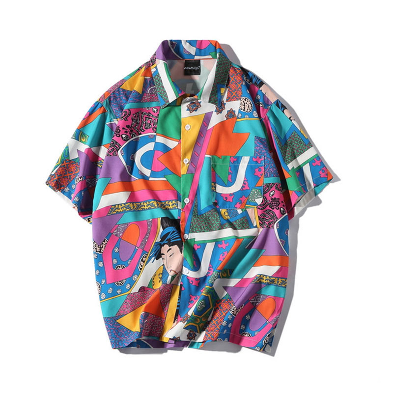 Aolamegs Shirts Men Japanese Block Male Shirts Thin Cotton Short Sleeve Shirt Fashion Casual College Style Spring Streetwear (2)