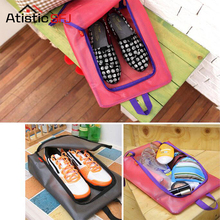 Atistic SFJ 1PCS Waterproof Travel Outdoor Folding Home Tote Toiletries Laundry Nylon Shoe Pouch Storage Bag Organizer container