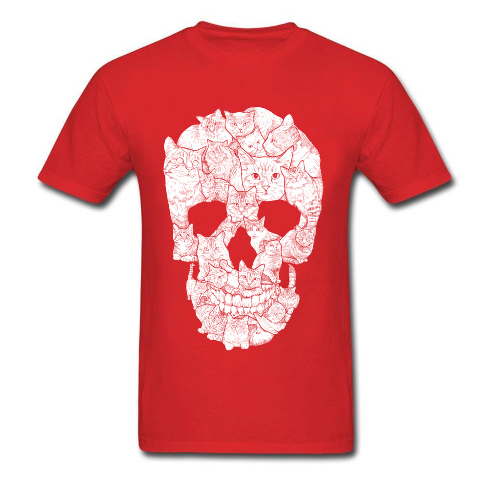 Sketchy Cat Skull Wholesale Short Sleeve Camisa T Shirt 100% Coon O-Neck Men T Shirt Casual Tee-Shirt Summer Autumn Sketchy Cat Skull red