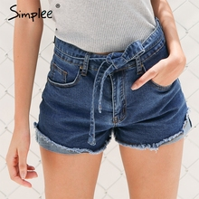 Simplee Denim shorts women buttons Elastic bow fringe blue high waist shorts Casual 2017 pockets sexy mini short jeans shorts(China)