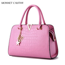 MONNET CAUTHY 2017 New Female Bags Candy Color Pink Lavender Sky Blue Wine Red Tote Classic Elegant Lady Sweet Fashion Handbags