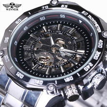 2016 New Winner Hollow Engraving Skeleton Casual Designer steel Case Gear Bezel Watches Men Luxury Brand Automatic Watches(China)