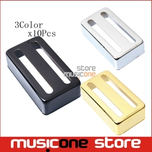 10pcs Brass Electric Guitar Humbucker Pickup Cover Two Line For LP Electric Guitar Black-Chrome-Black-Gold(China)