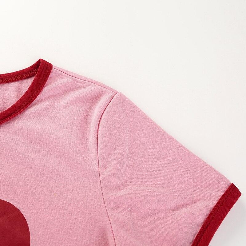 8Sweetown Pink Korean Style Heart Graphic Crop Top T Shirt Women Short Sleeve Kawaii Tee Shirt Vogue Summer Tops For Women 2018