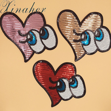 XINAHER Loving heart Patches Hot Iron On Sequin Applique On Clothes Handmade Sewing Accessories Fabric Dress Ornaments Badges