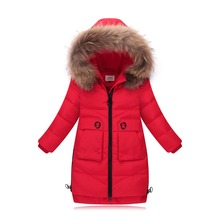 Brand Fashion Girl Down Jackets Children Long Model duck down Coats Girl Zipper Hooded Fur coats Warm baby girl's down Jacket