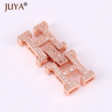 Supplies For Jewelry Wholesale Double H Letter Clasp Connector Charm For DIY Pearl Necklace Bracelet Jewellery Findings Part(China)