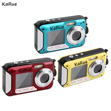 KaRue H268 Digital Camera 3M Waterproof Camera 2.7 Inch +1.8 Inch Double Screen  Max 24MP 16 times Digital Zoom  black Camcorder