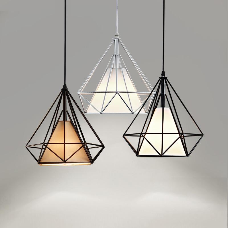 Modern Metal Diamond Pendant Light Black Pendant Lamp E27 hanglamp Lighting Fixtures Scandinavian Pyramid Lamp luminaire<br>